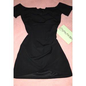 Over the shoulders little black dress